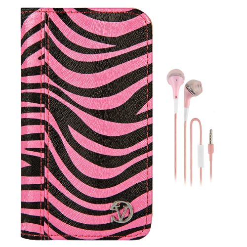 (VanGoddy Book Style Flip Case Cover for Apple iPod Touch 5 |Pink and Black Zebra + Pink Earbuds with Mic)