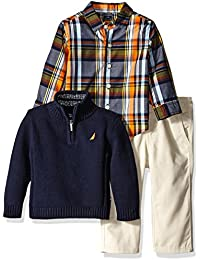 Nautica Baby Boys' Three Piece Set with Woven, Quarter Zip Sweater, Twill Pants