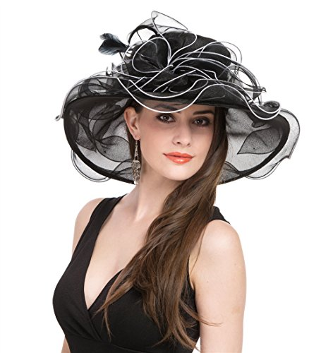 Saferin Women 's Organza Church Kentucky Derby Bridal Tea Party Wedding Hat (Black with White Line) Free size ()