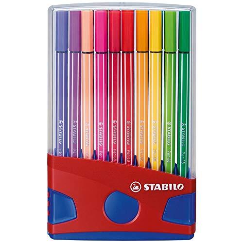(STABILO Pen 68 Fibre Tip Pens Desk Set - Assorted Colours, Pack of 20)