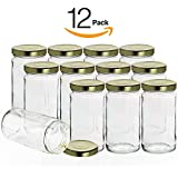 Pack of 12 Clear Glass Round Jars - 12 Ounce - High Quality and Elegant Look - Perfect for Hot or Cold Pack Applications