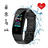 DKSPORT Fitness Tracker HR, Activity Tracker Watch with Heart Rate Monitor, IP68 Water Resistant Smart Bracelet with Sleep Monitor Calorie Counter Pedometer Watch for Kids Women and Men (Black)