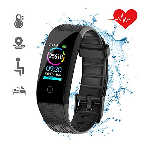 DKSPORT Fitness Tracker HR, Activity Tracker Watch with Heart Rate Monitor, IP68 Water Resistant Smart Bracelet with Sleep Monitor Calorie Counter Pedometer Watch for Kids Women and Men (Black) (Fitness Tracker Best Sleep Monitor)
