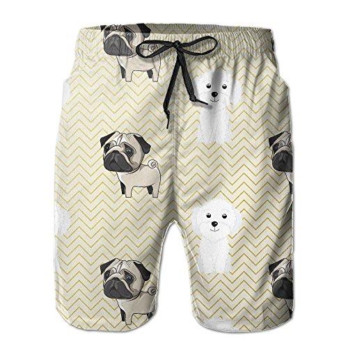 NUNOFOG Lovely Dogs Men's Swim Boardshorts Quick-Dry Surf Beach Shorts Casual Sport Trunks Shorts Beach Pants With Pocket