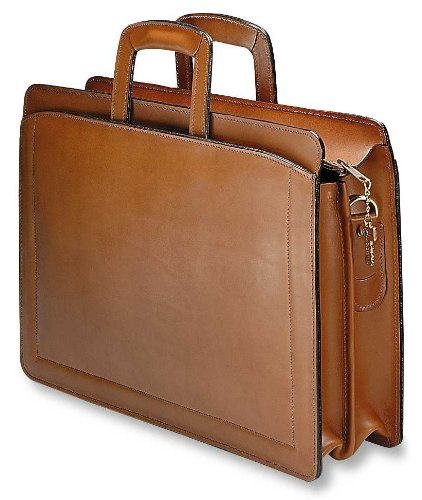 Bag Georges Leather Jack (Jack Georges Belting Double Gusset Top Zip Leather Briefcase in Tan)