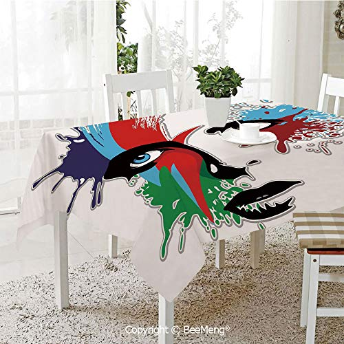 BeeMeng Spring and Easter Dinner Tablecloth,Kitchen Table Decoration,David Bowie Decor,Bowies Eyes Ziggy Stardust Expression Inspired Artwork Colorful Splashes,Multicolor,59 x 83 inches
