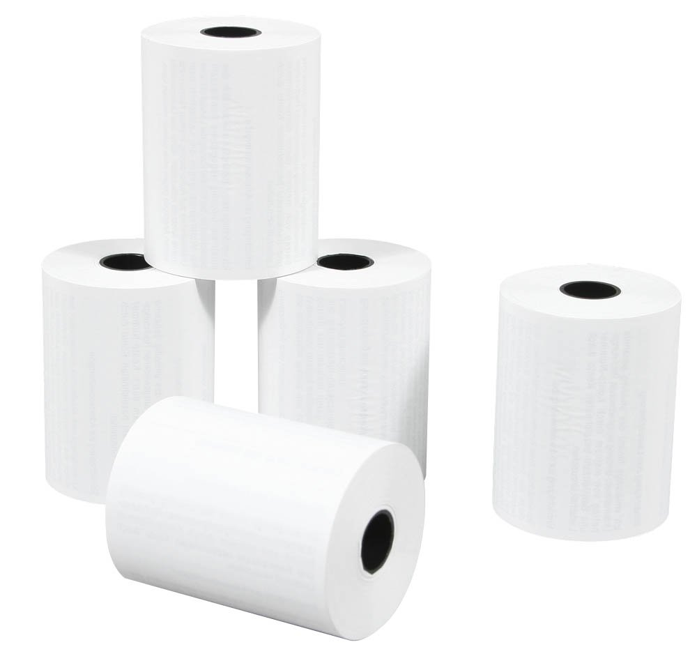 20 Thermo Rolls with Expiry Warning Text White (length: 9.0 M-Breite: 5.7 CM Spindle Diameter 1.2 CM Diameter 3 CM, EC Cashier Rolls Dots