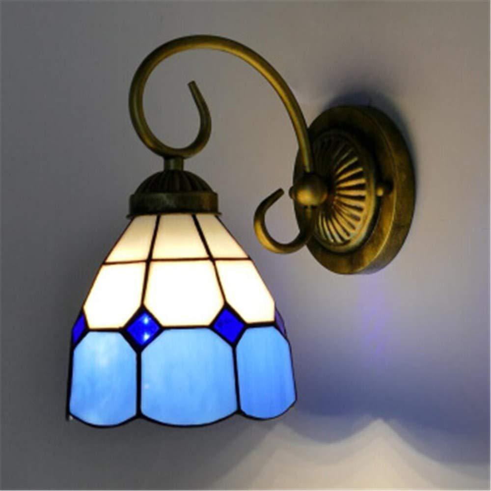 Idyllische mediterrane Wandlampe Schmiedeeisen Schlafzimmer Nachttischlampe Wohnzimmer TV Wandlampe Wohnzimmer Gang Spiegel Frontwandlampe Ein blauer Diamant 15CM