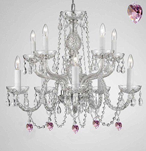 Empress Crystal (Tm) Chandelier Chandeliers Lighting with Pink Color Crystal! SWAG PLUG IN-CHANDELIER W/ 14' FEET OF HANGING CHAIN AND WIRE!