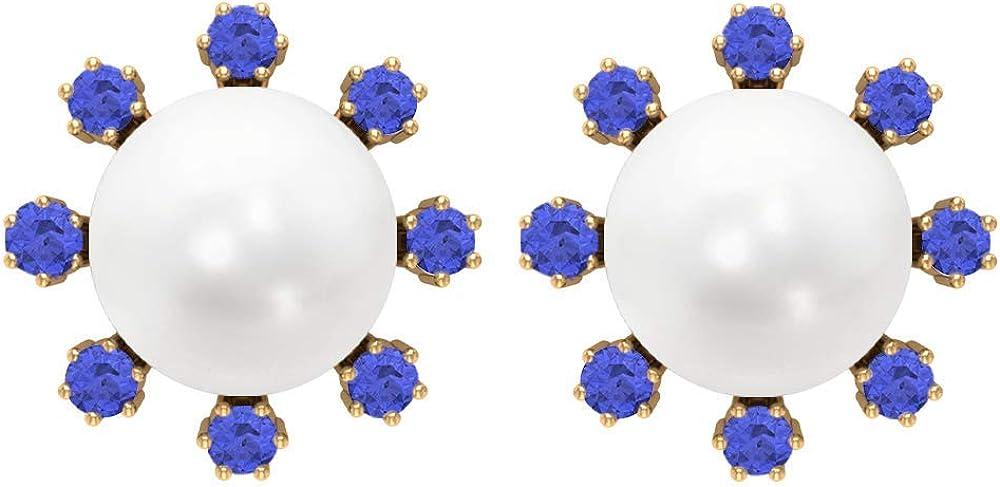 Pendientes de tuerca de perlas de agua dulce de 8 mm para mujer, pendientes de 8,41 quilates, aretes de racimo de 14 quilates, pendientes de tanzanita de 1,80 mm, cierre de rosca.