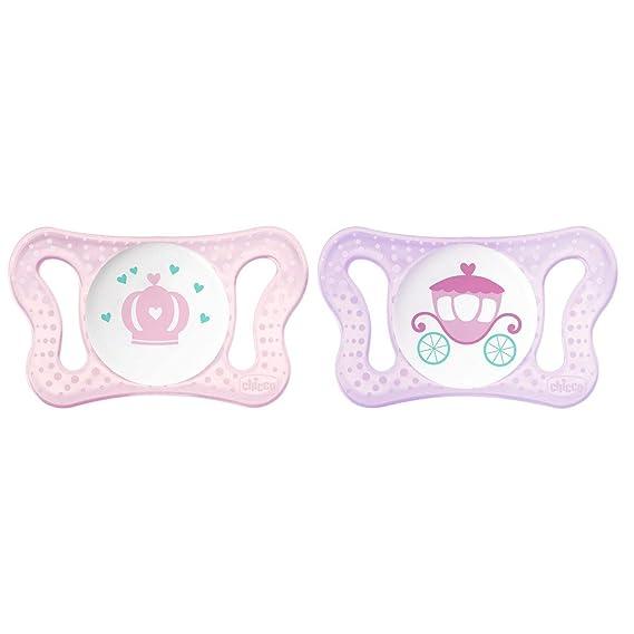 Chicco Physio Micrò - Pack de dos chupetes de silicona recién nacido 0-2 meses, modelos aleatorios, color rosa
