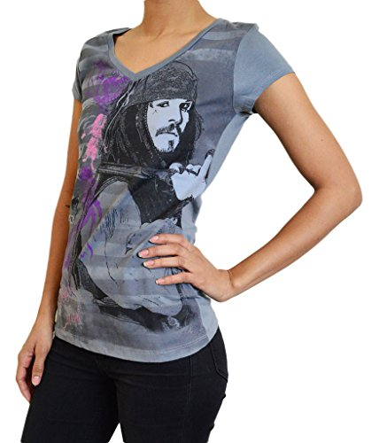 Disney Pirates of the Caribbean Jack Sparrow Johnny Depp Women's Short Sleeve T-Shirt Size Small in Grey (Pirate Apparel)