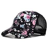 PT FASHIONS Floral Print Mesh Baseball Cap Adjustable Snapback Trucker Hat