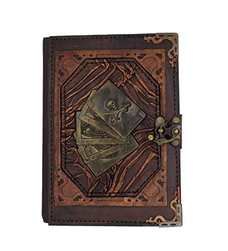 Playing Cards With Skull Real Leather Journal Small Writing Notebook Handmade Natural Leather Daily Notepad For Men & Women Unlined Paper, Best Gift for Art Sketchbook, Travel Diary, Write in by Thea`s Impressions
