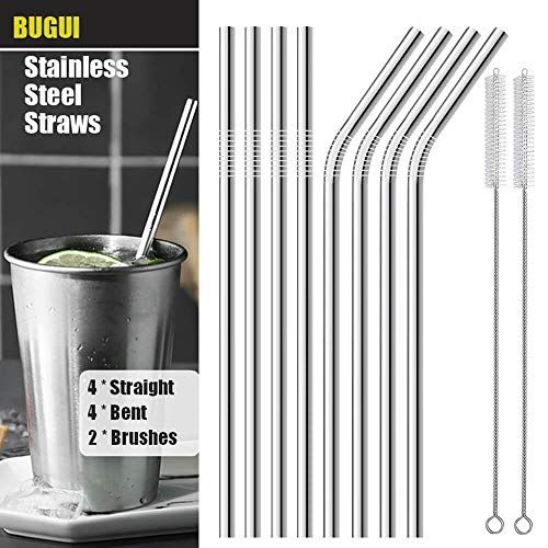 - Reusable Stainless Steel Drinking Straws, Set of 8, 10.5