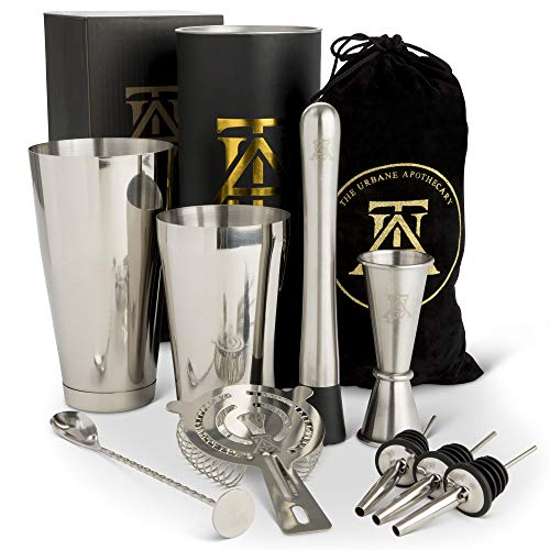 Apprentice Cocktail - Boston Cocktail Shaker Set  -  Professional Bar Drink Mixing Supplies  - Ultimate Collection  Bartender Muddler Kit ,  Stainless Steel Martini Shakers , Gold with Black Velvet Sleeve