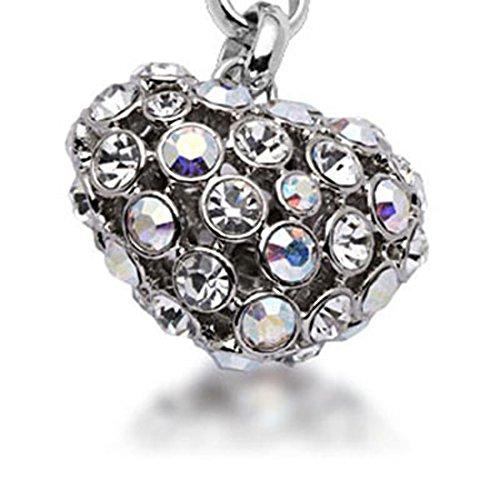 KALIFANO Iridescent Heart Keychain Made with Swarovski Crystals