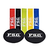 FSG Gliding Disc Core Sliders and Set of 5 Resistance Loop Band Set, Double Sided Sliding Discs, Intense Glute and Core Workout, Low Impact For Strong Abdominals and Toned Butt - BONUS Travel Bag, Fit