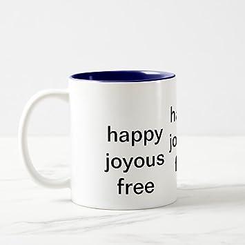 Zazzle Happy Joyous Free Travel Mug, Navy Blue Two Tone Mug 11 Oz