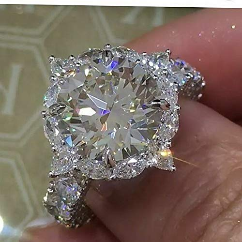 (Crookston Huge 925 Silver White Topaz Alexandrite Jewelry Wedding Engagement Ring Size6-10 | Model RNG - 15429 | 6)