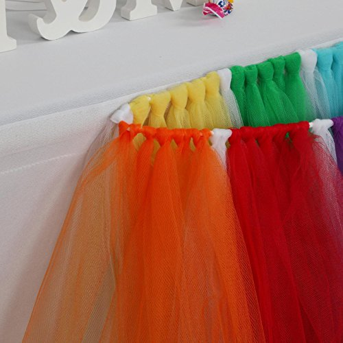 Multi Color Dessert - Fivejorya 3.3ft Multi-Color Tulle Table Skirt Queen Wonderland Tablecloth Skirting Tutu Tablecloth Tableware for Christmas Wedding Baby Shower Birthday Party Cake Dessert Table Decor