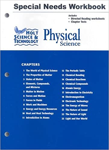 Holt Science & Technology: Physical Science: Special Needs Workbook ...