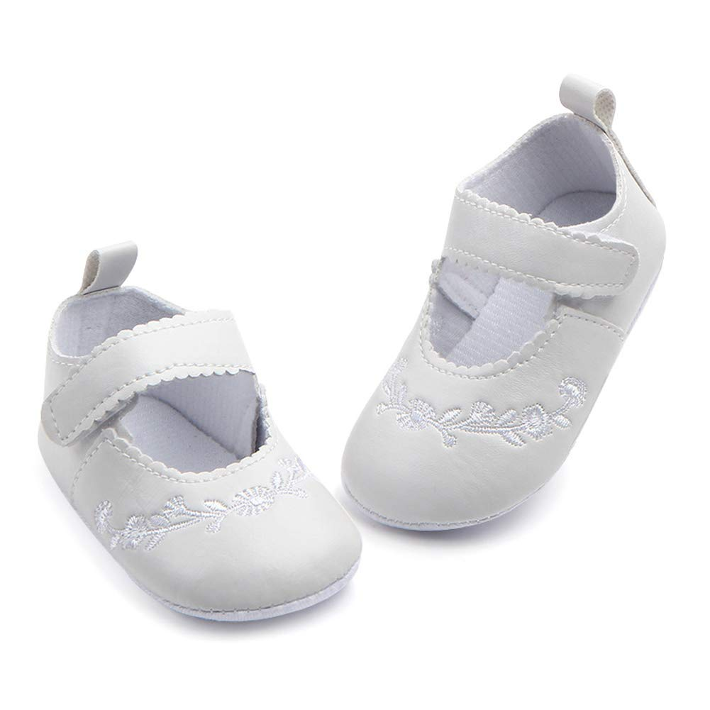 NewJourney Baby Girl Christening Baptism Shoes PU Leather Princess Soft Sole Loafers
