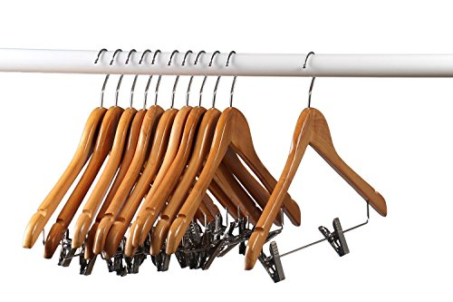 Home-it (20 Pack) Natural wood Solid Wood Clothes Hangers, Coat Hanger Wooden Hangers with clips