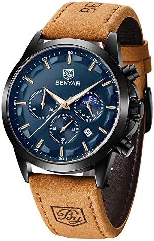 BENYAR Men's Watches Waterproof Sport Military Watch for Men Multifunction Chronograph Black Fashion Quartz Wristwatches Calendar with Leather Strap WeeklyReviewer
