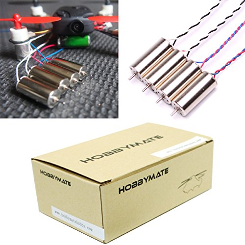 HOBBYMATE High Performance Brushed Coreless Motors 8520 8.5x20mm for Hubsan X4 H107C H107D, DIY Micro FPV RC Quadcopter Frame, No JST Plug - Pack of 4