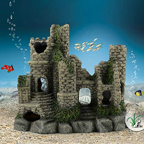 Capetsma Castle Aquarium Decorations, Resin Castle cave Stone Head Aquarium Ornament, eco-Friendly Fish Tank Decor, Safe Artificial Fish Hideaway, Helps Your Fish to Reduce Stress and Keep Healthy