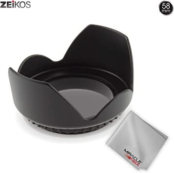 58mm compatible Pro Hard Lens Hood with Collar Clamp For Canon EOS Rebel T7i SL2 77D