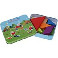 MagiDeal Children Intellectual Wooden Jigsaw Puzzle Geometry Blocks with Metal Box Kids Educational Toy Play Activity – Tangram