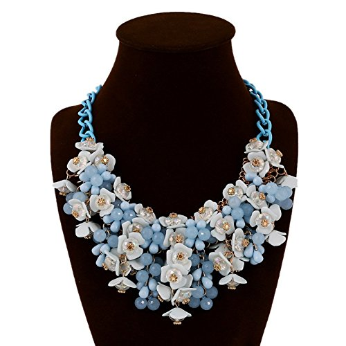 Yeshion Bib Flower Statement Necklace Crystal Choker For Women (Blue)