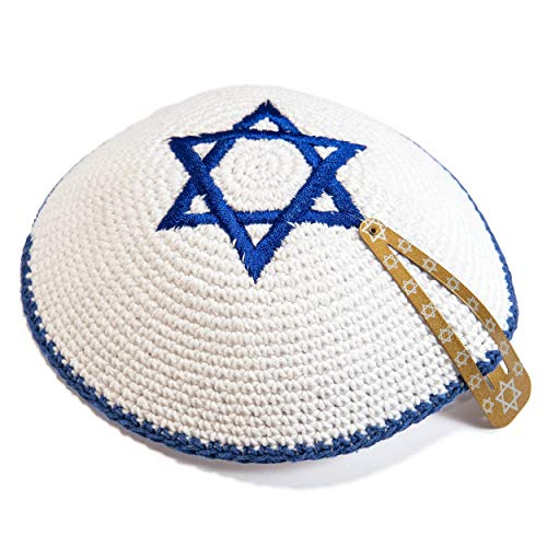 (JL Kippha's Knitted Cotton 16cm White Navy Blue Magen David Kippah Jewish Kipa Israel Yarmulke Synagogue)