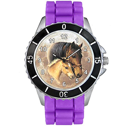 Timest - Horse Mother with Foal Jelly Silicone Band Unisex Wrist Watch Analog Quartz CSE024 (purple)