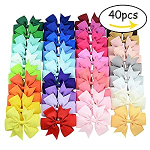 Hair Bows Clips Solid Color Grosgrain Ribbon Larger Hair Bows Alligator Clips Hair Accessories for Baby Girls Infants Toddlers Kids Teens (3 inch, 40Pcs)