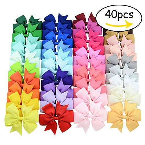 Diy Halloween Hair Clips (40 Pcs 3inch Boutique Grosgrain Ribbon Baby Girls Hair Bows with Clips for Teens)