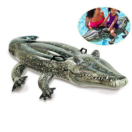 Hamkaw Crocodile Inflatable Pool Float, Rideable Pool Floats Swim Mat Pool Float Toy for Party Pool Supplies Favors Birthday Gifts for Kids and Adults