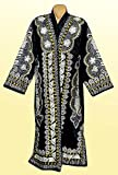 STUNNING UZBEK SILVER SILK EMBROIDERED ROBE CHAPAN FROM BUKHARA A7559