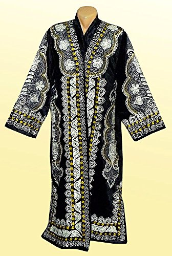 STUNNING UZBEK SILVER SILK EMBROIDERED ROBE CHAPAN FROM BUKHARA A7559 by East treasures