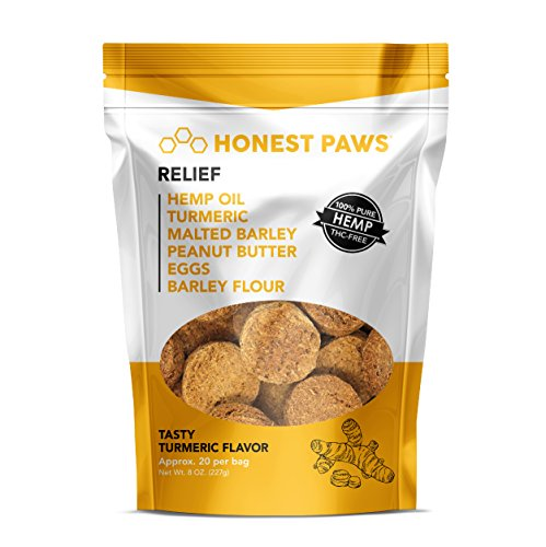 Honest Paws | ALL NEW Relief Formula | Premium Hemp Dog Treats - Hip, Joint, and Pain Relief Supplement for Dogs - Made with 100% All Natural Pure Hemp Oil with Organic Turmeric - Peanut Butter Flavor