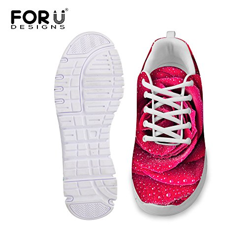 Fashion Red Vintage Rose U Comfortable B Women's Print DESIGNS Floral Walking Sneaker Shoes Running FOR gf0nOqxw