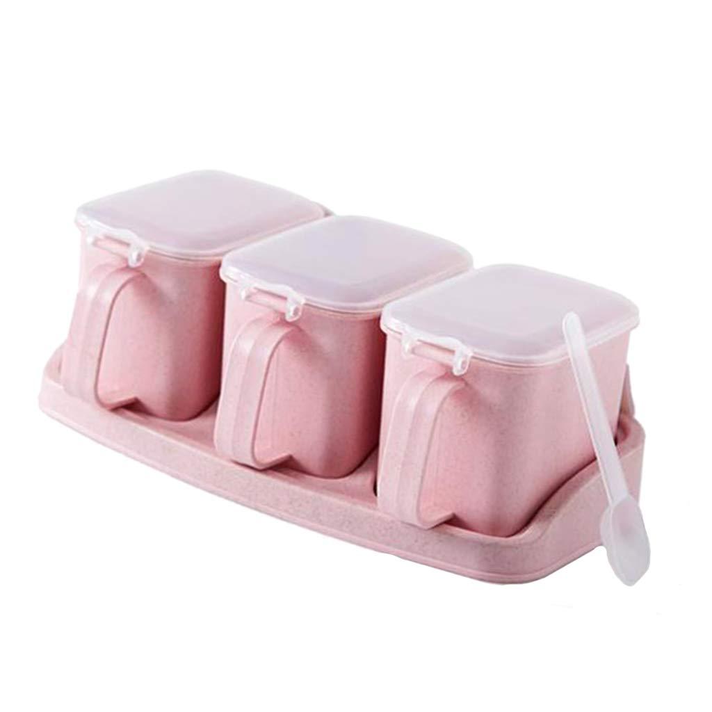 Beige 1 3 Rejillas Baoblaze Caja de Condimentos Envase de Almacenamiento de Especias con Tapa Transparente A Prueba de Polvo