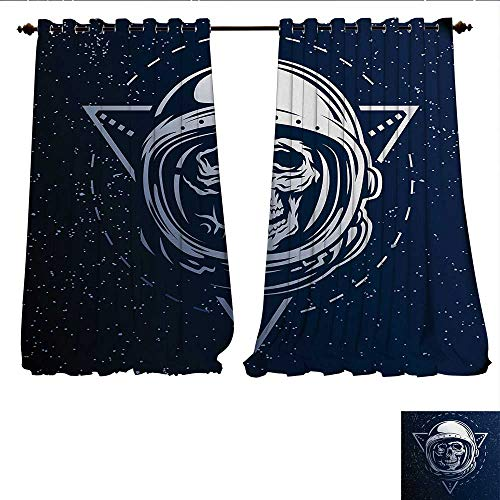 Window Curtain Drape Dead Skull Head Icon Cosmonaut Costume Astronomy Terrestrial Horror Scare Image Decorative Curtains for Living Room W96 x L84 Grey Blue