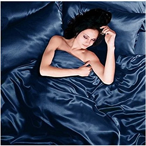 Satin 6 Pcs Silky Sexy Bedding Set Queen Duvet Cover Fitted Sheet & 4x Pillowcases (Navy) (Navy Toile Bedding)