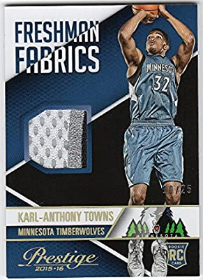 Karl-Anthony Towns 2015-16 Panini Prestige Rookie 3 Color Patch Jersey Serial #10/25