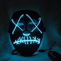Qlan Halloween Scary LED Mask Costume El Wire for Festival Party