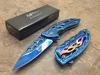 Brand New Blue Titanium Stainless Steel Blade Tactical Rescue Quick Open Pocket Design Folding Knife