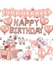 AivaToba Verjaardagsdecoratie roségouden decoratie, Happy Birthday Decorations slinger ballonnen, roségouden confettiballonnen, tafeldecoratie verjaardag decoratie voor meisjes